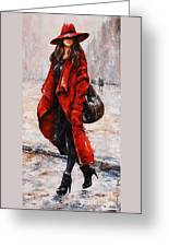 Rainy Day - Red And Black #2 Greeting Card by Emerico Imre Toth