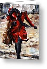 Rainy Day - Woman Of New York 10 Greeting Card