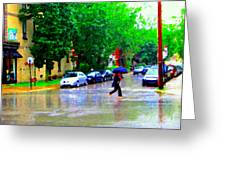 Rainy Days And Mondays Girl Running With The Blue Umbrella Montreal Art City Scenes Carole Spandau Greeting Card