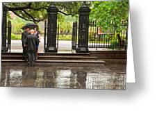 Rainy Destination Wedding In Jackson Square New Orleans Greeting Card