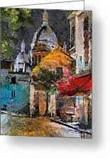 Rainy Evening In Montmartre Greeting Card