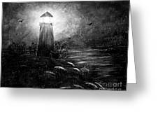 Rainy Night At The Lighthouse Greeting Card
