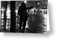 Rainy Night - Hailing A Cab Greeting Card