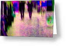 Rainy Night In The City Downtown Evening Stroll Through The Puddles Montreal Art Carole Spandau Greeting Card