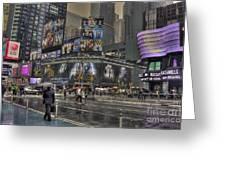 Rainy Times Square Greeting Card