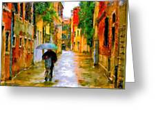 Rainy Walk In Venice Greeting Card