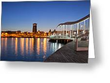 Rambla De Mar Promenade In Barcelona At Night Greeting Card