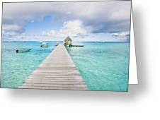 Rangiroa Atoll Pier On The Ocean Greeting Card