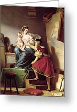 Raphael Adjusting His Model's Pose For His Painting Of The Virgin And Child  Greeting Card