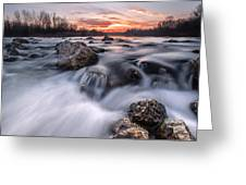 Rapids On Sunset Greeting Card by Davorin Mance
