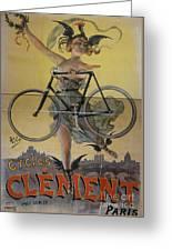 Rare Vintage Paris Cycle Poster Greeting Card
