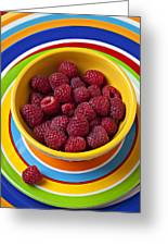 Raspberries In Yellow Bowl On Plate Greeting Card