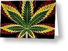 Rasta Marijuana Greeting Card by Adam Romanowicz