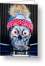 Rat Rod Skull Hood Ornament 2 Greeting Card