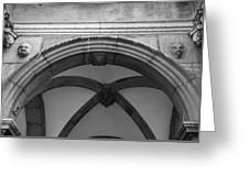 Rathaus Arch Bw Cologne Germany Greeting Card