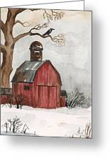 Raven And The Red Barn Greeting Card