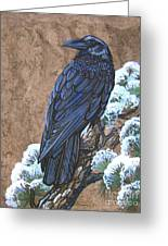 Raven Chillin Greeting Card