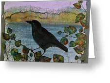 Raven In Colored Leaves Greeting Card