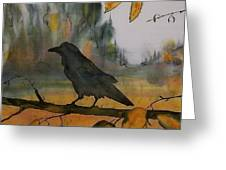 Raven In Orange Birch Greeting Card by Carolyn Doe