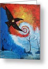 Raven In The Swirl Greeting Card