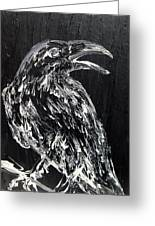 Raven On The Branch - Oil Painting Greeting Card