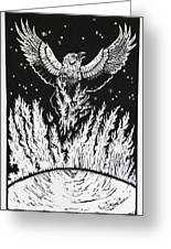 Raven Stealing Fire From The Sun - Woodcut Illustration For Corvidae Greeting Card