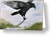 Raven Stealing Time Greeting Card