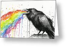 Raven Tastes The Rainbow Greeting Card