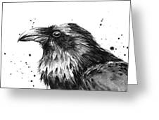 Raven Watercolor Portrait Greeting Card