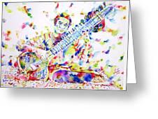 Ravi Shankar - Watercolor Portrait Greeting Card