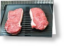 Raw Beef Steaks On The Barbecue Greeting Card