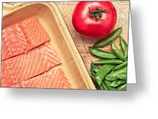 Raw Salmon Greeting Card by Tom Gowanlock