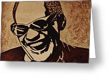 Ray Charles Original Coffee Painting Greeting Card