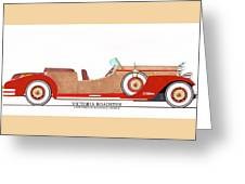 Ray Dietrich Packard Victoria Roadster Concept Design Greeting Card