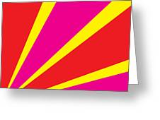 Rays Of Color Pink And Red Greeting Card
