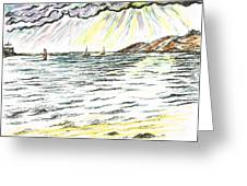 Rays Of Sunshine Between Clouds Greeting Card