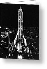 Rca Building At Night In Nyc Greeting Card