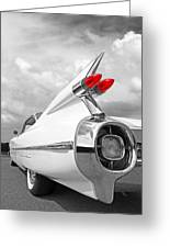 Reach For The Skies - 1959 Cadillac Tail Fins Black And White Greeting Card