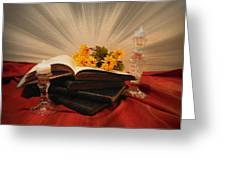 Reading By Candle Light Greeting Card