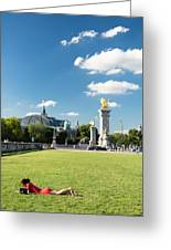 Reading In Paris Greeting Card