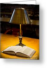 Reading Lamp And Book Greeting Card