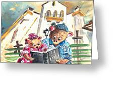 Reading The Bible In La Iruela In Spain Greeting Card