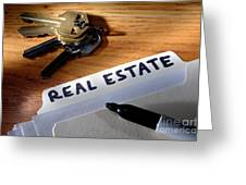 Real Estate File Folder With Marker And House Keys Greeting Card