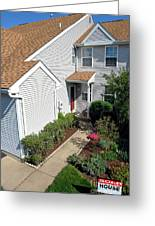 Real Estate Sold Sign And House View From Above Greeting Card by Olivier Le Queinec
