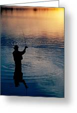 Rear View Of Fly-fisherman Silhouetted Greeting Card