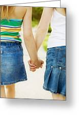 Rear View Of Girls Holding Hands Greeting Card by Design Pics RF