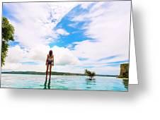 Rear View Of Woman In Bikini Standing Greeting Card