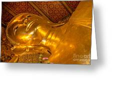 Reclining Buddha Gold Statue In Thailand Greeting Card