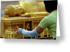 Reclining Buddha Prayer Candles Greeting Card