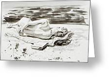Reclining Nude Study Resting At The Beach Greeting Card